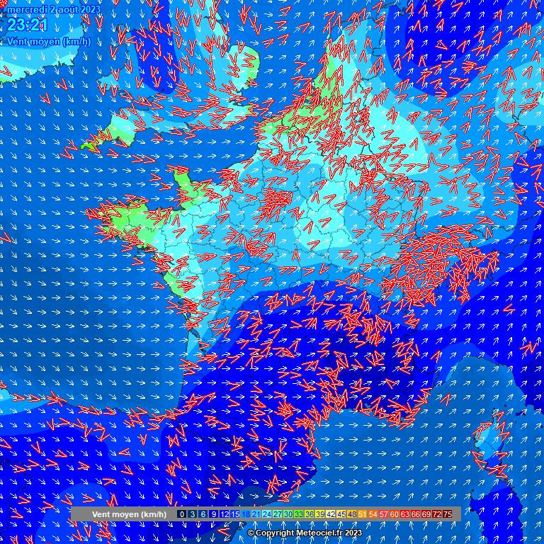 Carte vitesse des vents